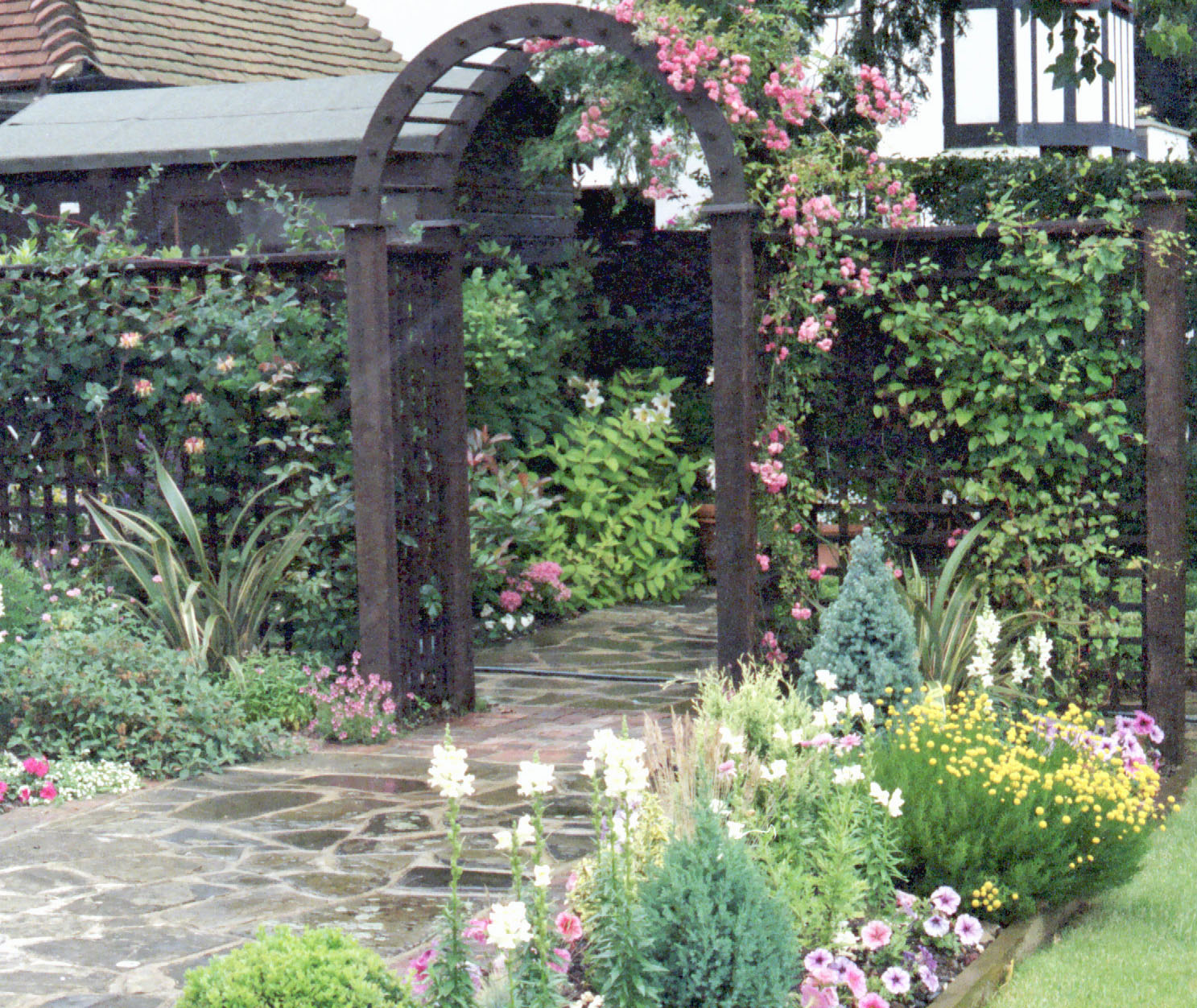 Rose Arch with crazy york paving
